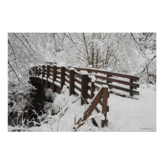 Snow Covered Wooden Bridge Poster