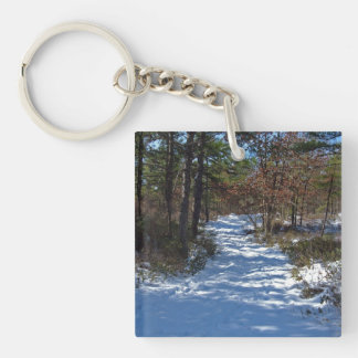 Snow Covered Woodland Path Double-Sided Square Acrylic Keychain