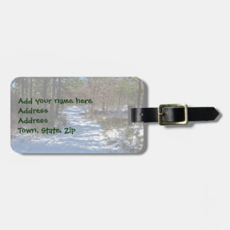 Snow Covered Woodland Path Luggage Tag