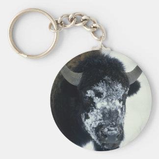 Snow coverered Buffalo Basic Round Button Keychain