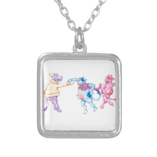 Snow Cows Silver Plated Necklace