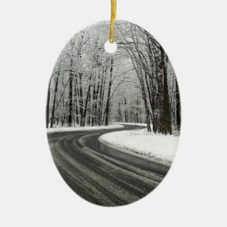 Snow Curved Winding Road Ceramic Ornament