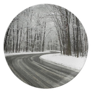 Snow Curved Winding Road Dinner Plate