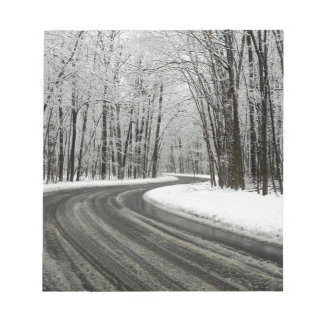 Snow Curved Winding Road Notepad