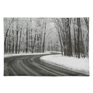 Snow Curved Winding Road Placemat