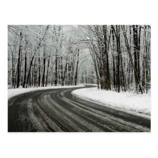 Snow Curved Winding Road Postcard