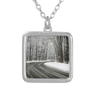 Snow Curved Winding Road Silver Plated Necklace