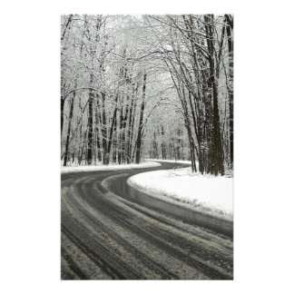 Snow Curved Winding Road Stationery