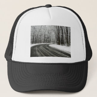 Snow Curved Winding Road Trucker Hat