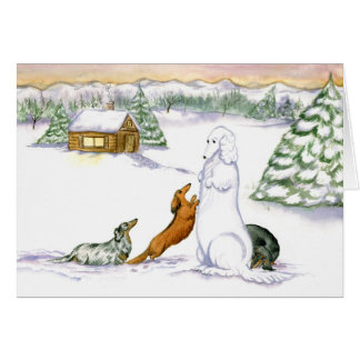 Snow Dachshund Holiday Card