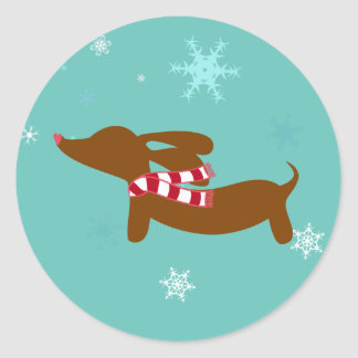 Snow Dachshund Holiday Envelope Seal
