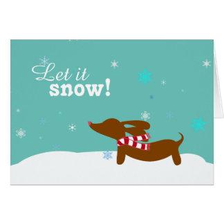 Snow Dachshund Wiener Dog Holiday Greeting Card