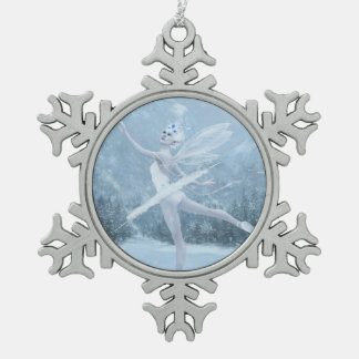 Snow Dancer Pewter Snowflake Ornament