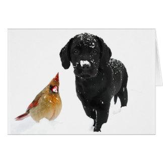 Snow Day Companions - Black Labrador Puppy and Car Card