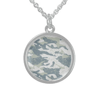 Snow disruptive camouflage sterling silver necklace