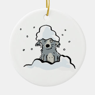 snow dog ceramic ornament