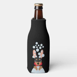 Snow Dog Min Pin Bottle Cooler