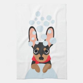 Snow Dog Min Pin Kitchen Towel