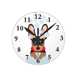 Snow Dog Min Pin Round Clock