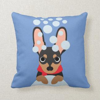 Snow Dog Min Pin Throw Pillow