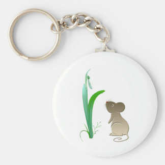 Snow drop flower and Cute Mouse Keychain