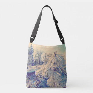 Snow Dust on Pines Crossbody Bag