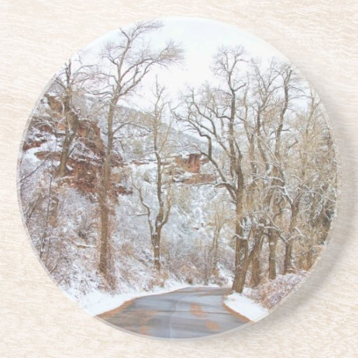 Snow Dusted Colorado Scenic Drive Drink Coaster