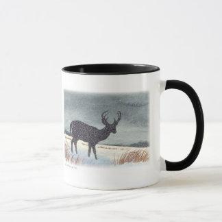 Snow Dusted Deer Silhouette Painting Mug