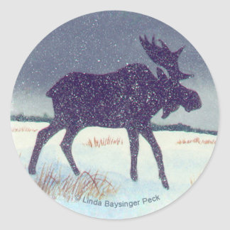 Snow Dusted Moose Design Round Sticker