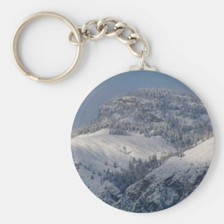 Snow dusted mountains in south Okanagan Basic Round Button Keychain