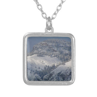 Snow dusted mountains in south Okanagan Silver Plated Necklace