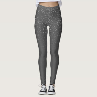 Snow Falling Gray and White Design Leggings