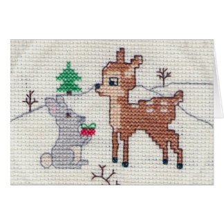 Snow Fawn and Bunny Cross Stitch Card