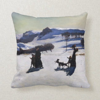 Snow Fields by an American Painter Christmas Gift Throw Pillow