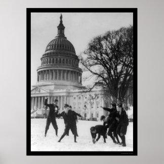 Snow Fight at Capital Washington, DC 1925 Poster