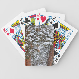 Snow fills the boughs of ponderosa pine trees bicycle playing cards