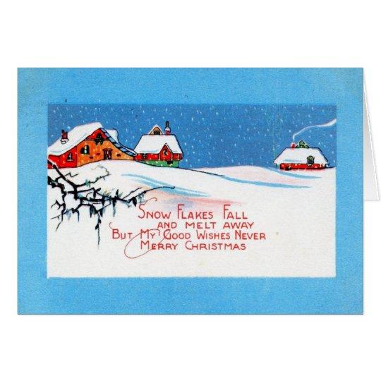 Snow Flakes Christmas 1920 Vintage Card