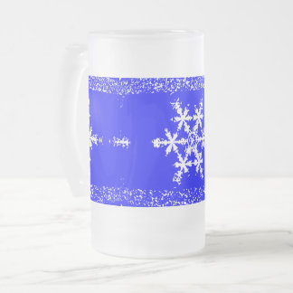 Snow Flakes Frosted 16 oz Frosted Glass Mug