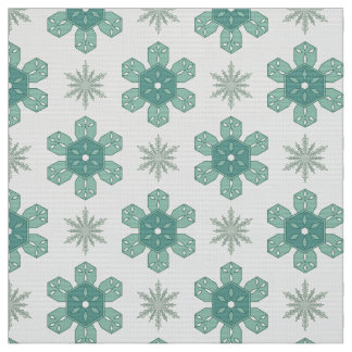 Snow Flakes Patterned Fabric: Ice Crystals Fabric