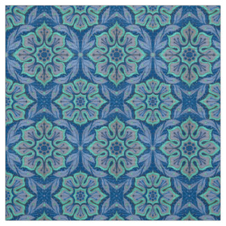 Snow flower, floral pattern blue & mint snowflake fabric