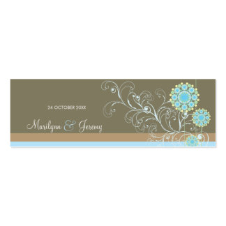 Snow Flower Swirls Blue Custom Thank You Gift Tag Business Cards