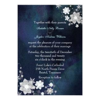 Snow Flowers Elegant Sparkle Winter Wedding Invite