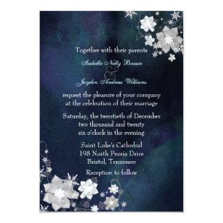 Snow Flowers Elegant Winter Wedding Invitation