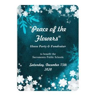 "Snow Flowers Winter Fundraiser Event 5"" X 7"" Invitation Card"