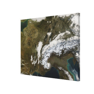 Snow, fog, and low clouds in western Europe Gallery Wrapped Canvas