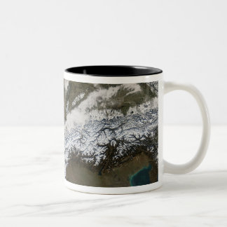 Snow, fog, and low clouds in western Europe Coffee Mugs