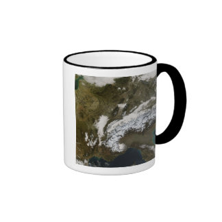 Snow, fog, and low clouds in western Europe Mug