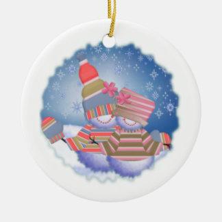 Snow Folk Round Ceramic Ornament