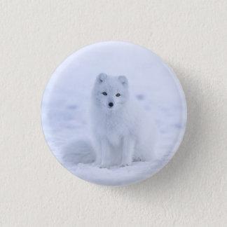Snow fox 1 inch round button