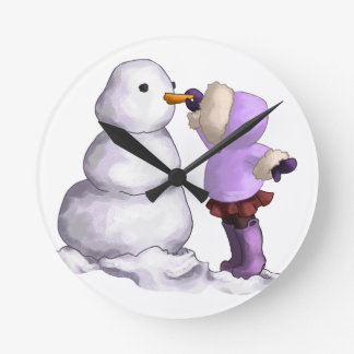 Snow Friend Round Clock